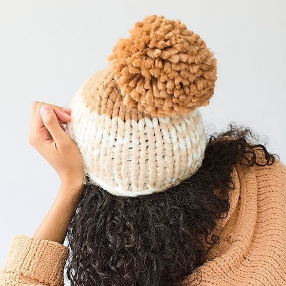FREE PEOPLE Cozy Up Color Block Pom Beanie New